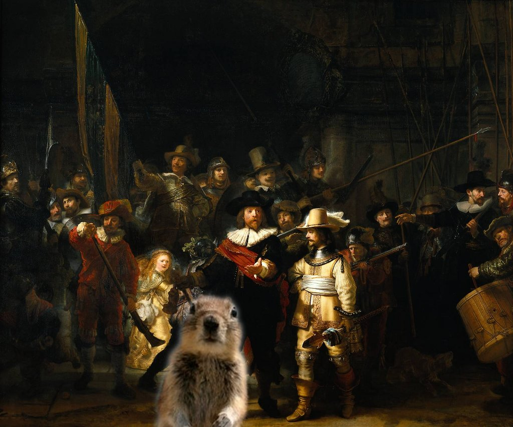 The Nightwatch by Rembrandt with Crasher Squirrel